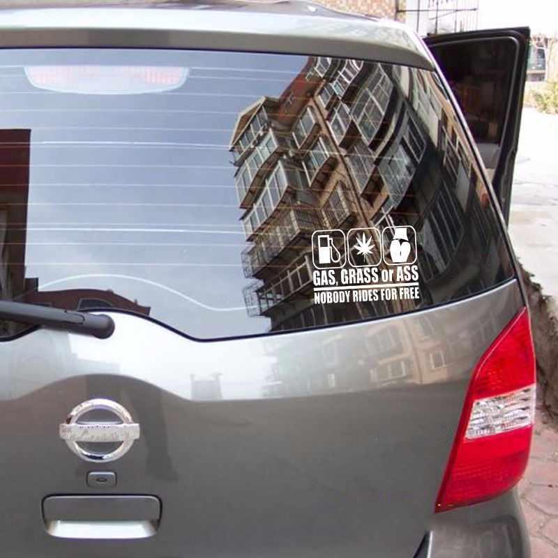 18*10 CM Xe Styling GASS CỎ ASS Vui Car Sticker phản Vinyl Decal cho FORD TOYOTA KIA BMW RENAULT Cửa Sổ Bumper