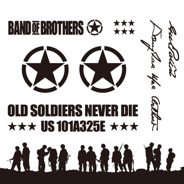 Cool Band of Brothers design sticker on car for JEEP
