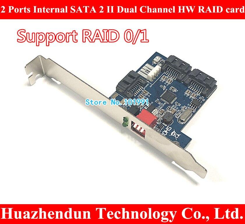 New 2 Ports Internal SATA 2 II Dual Channel HW RAID card support RAID0, 0/1 Card qle2462 e px2510401 55 4gb dual channel optical card 100