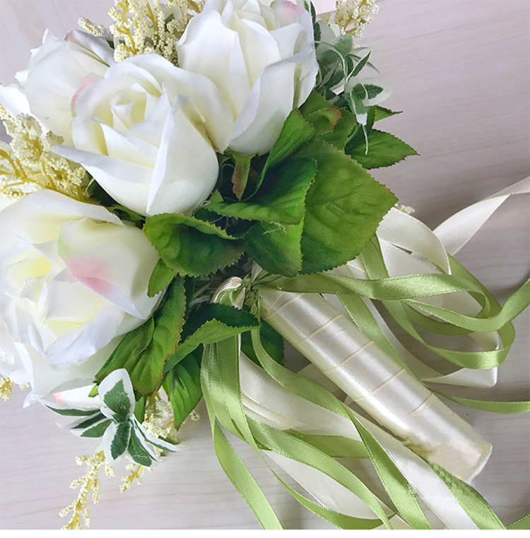 white pink silk flowers bridesmaids bridal Wedding Bouquets rose flowers (2)