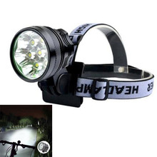 7 x XM-L2 T6 LED Front Head Headlight Bicycle Light Torch 3 Modes 5000lm + 1 8.4V Rechargeable 6000mAh 18650 Battery Pack