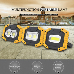 Powerful USB Portable COB Working Light 18650 Outdoor Led Flood Light Rechargeable 20W Work Lamp Camping Lantern Waterproof