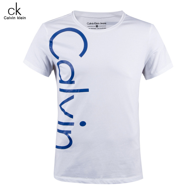 Calvin Klein Jeans / CK Male Short Sleeved T-shirt Classic Style Round Neck Cotton Shirt Men Letter Print Tops Tees 9339