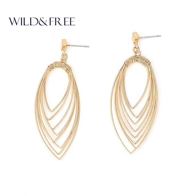 Women Fashion Gold Leaf Drop Earrings Vintage Antique Silver Zinc Alloy Geometric Europe Dangle