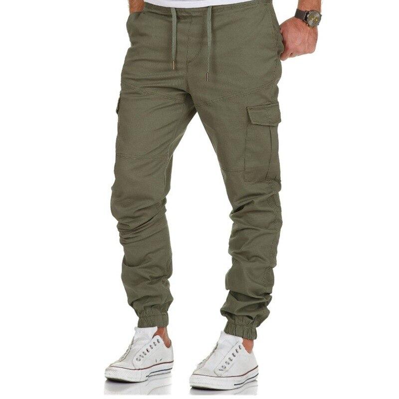 Mens Cargo Pants Solid Color Big Pocket Decoration Men Khaki Pants Hip Hop Jogger Blended Cotton Fashion Men Casual Pants