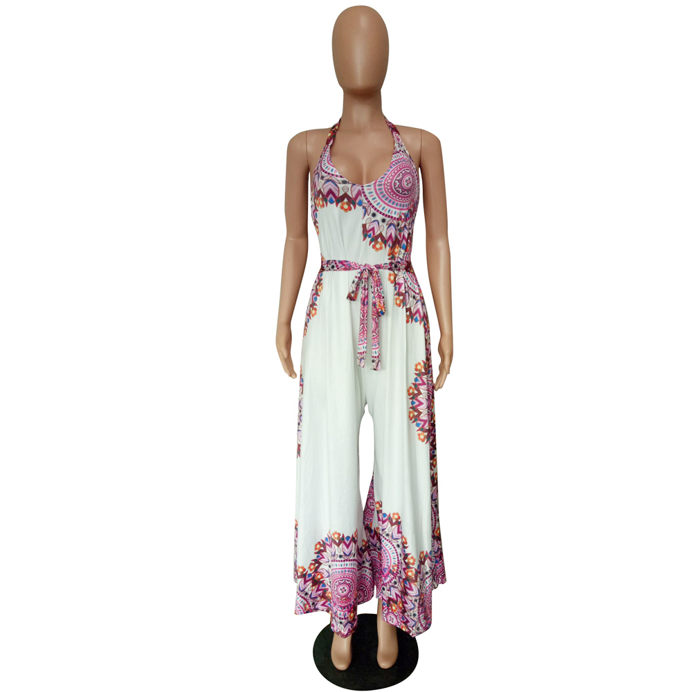 2018 Rompers Womens Print Jumpsuit Sexy Strapless Casual Loose Playsuits Backless Summer Overalls Oversized