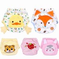 5 PCS Crianças Bebê Calças de Treinamento de Algodão Macio Respirável Calças Fraldas Reutilizáveis Fralda Lavável