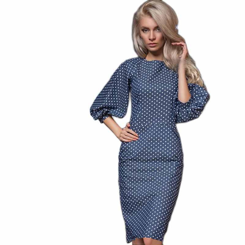 c63ec2de0419d20 ... Женское осеннее Повседневное платье в горошек с принтом, Повседневное платье  с круглым вырезом и рукавами ...