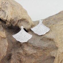 Small Ginkgo Leaf 999 Sterling Silver Stud Earrings For Women Earring 2019 Luxury Jewelry Boho Handmade Ear Studs Tips Ethnic