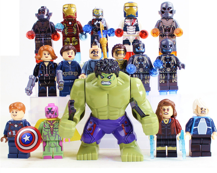 8pcs SY275 Age Of Ultron Avengers 2 Tremendous Heroes Minifigures Iron Man Black Widow Constructing Block Brick toys