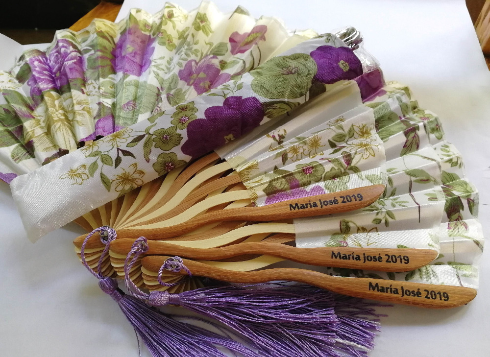 Free Shipping 100pcs Personalized Cherry Blossom Design Round Cloth Folding Hand Fan with Gift bag Wedding