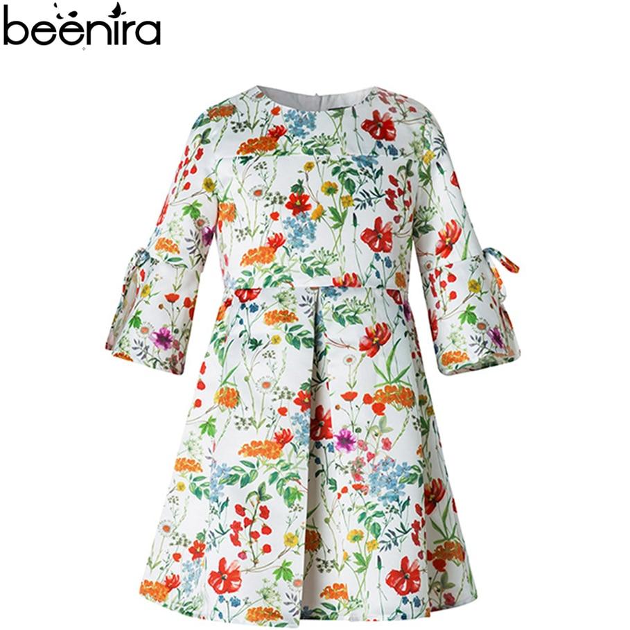 BEENIRA  vestidos nina Jacquard Dress Child Floral Costume Baby Draped Half Sleeve Clothing High Quality kids dresses for girls nina stefanovich tale about littleworm book for kids