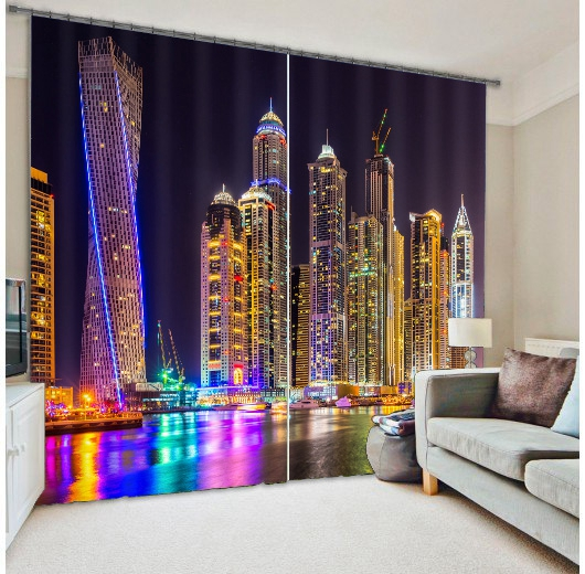 Hottest High Density 100 Shading Blackout 3D Digital Printed NYC Colorful Building Curtain