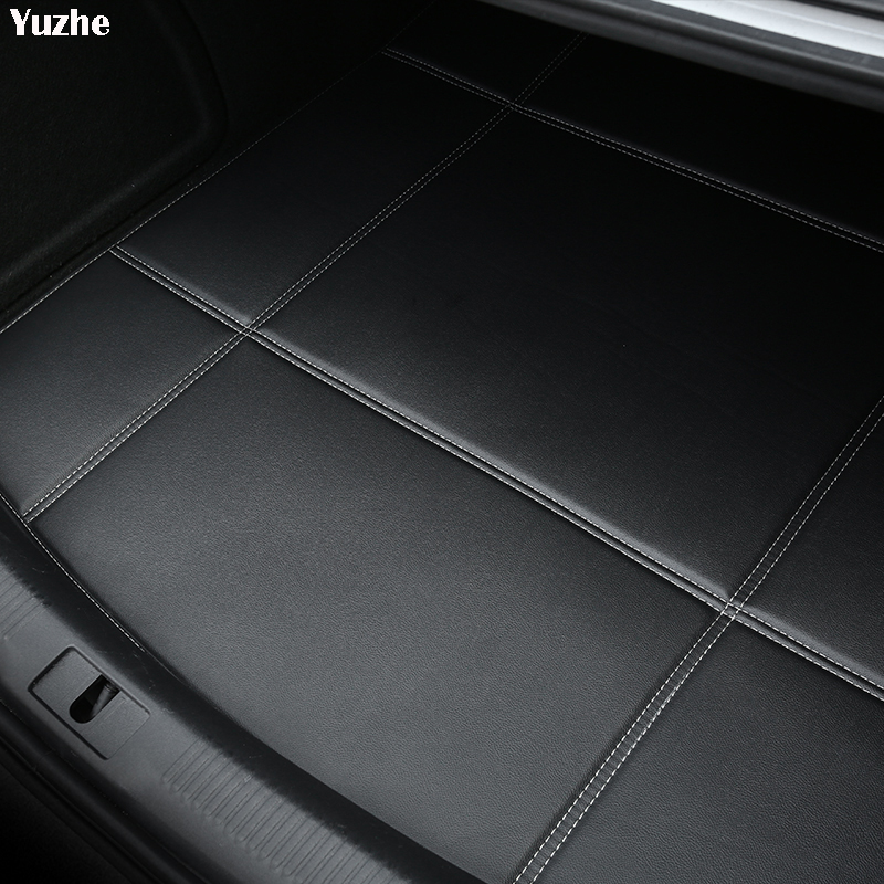 Yuzhe Car Trunk Mats For Ford Focus 2 3 Fushion mondeo Fiesta Edge Explore Kuga Waterproof Carpets car accessories Cargo Liner ouzhi for ford focus 2 3 mondeo fiesta f150 orange brown brand designer luxury pu leather front