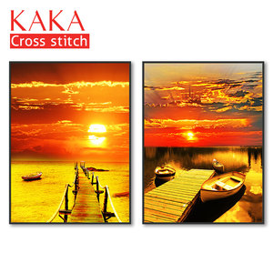 Image 1 - Cross stitch kits,Embroidery needlework sets with printed pattern,11CT canvas for Home Decor Painting,Landscape Full NCKS011