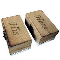 2 Pcs Wooden His Hers Fire Stained Rectangle Ring Box Custom Wedding Gift Boxes Beige Color
