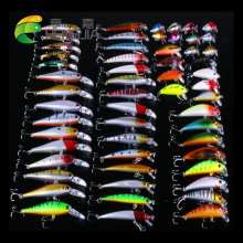 Купить с кэшбэком 56pcs/set Fishing Lures Set Mixed Fishing ABS Set Wobblers Minnow Crankbait Fishing Tackle Set056