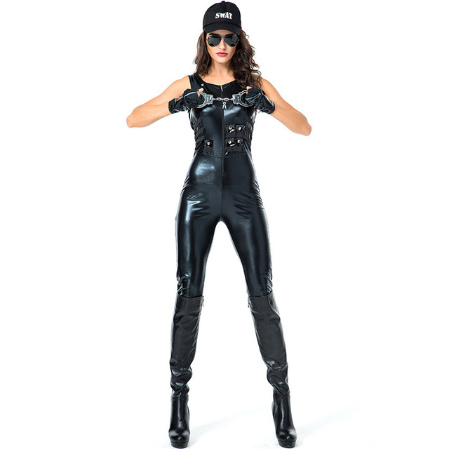 198df10163e Women s Sexy Tight Jumpsuit Cop Costumes Black Black Faux Leather Catsuit  Uniform Cosplay Sexy Policewoman Fancy Dress Costume