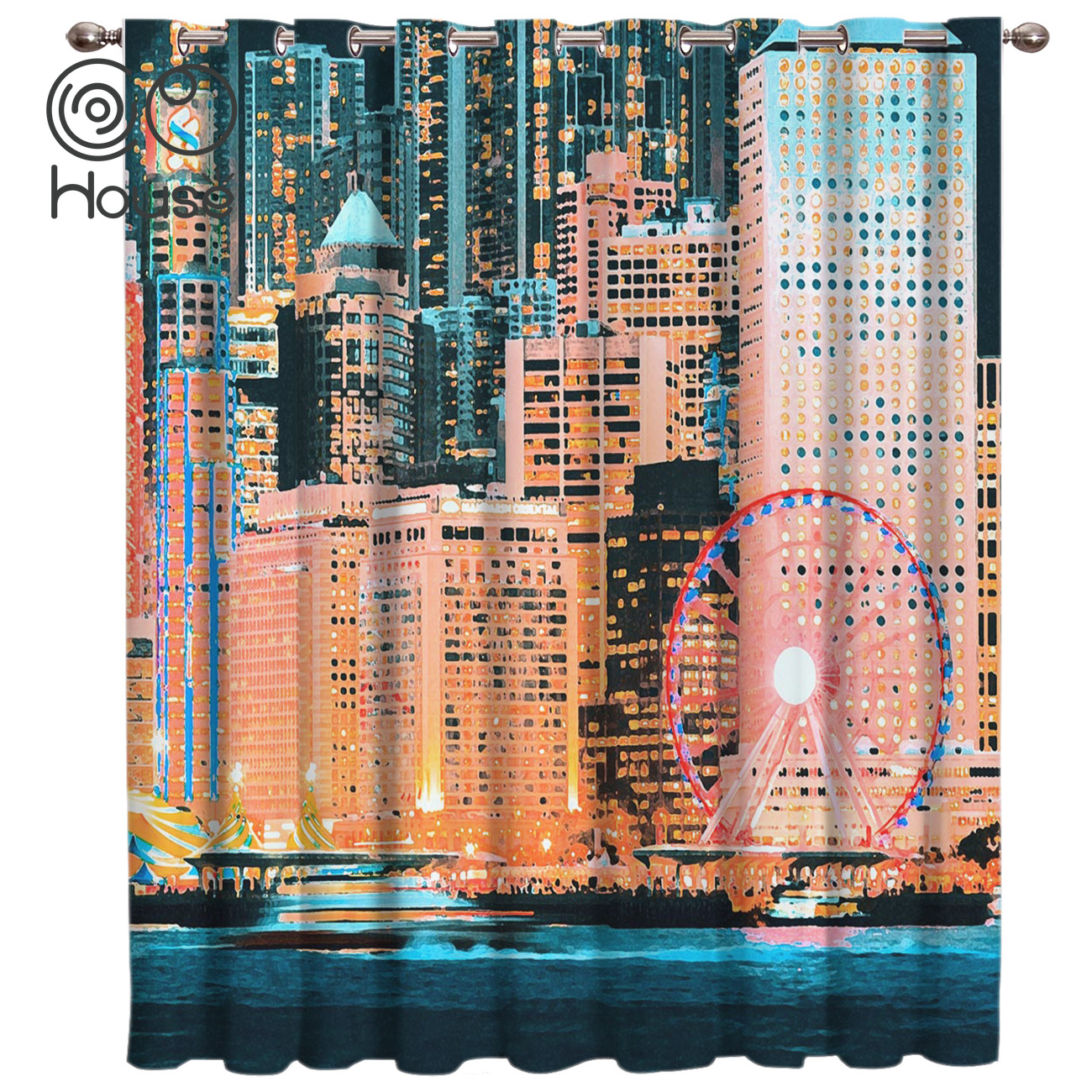 COCOHouse Midern Night View Window Treatments Curtains Valance Room Curtains Large Window Window Curtains Dark Blackout Kitchen
