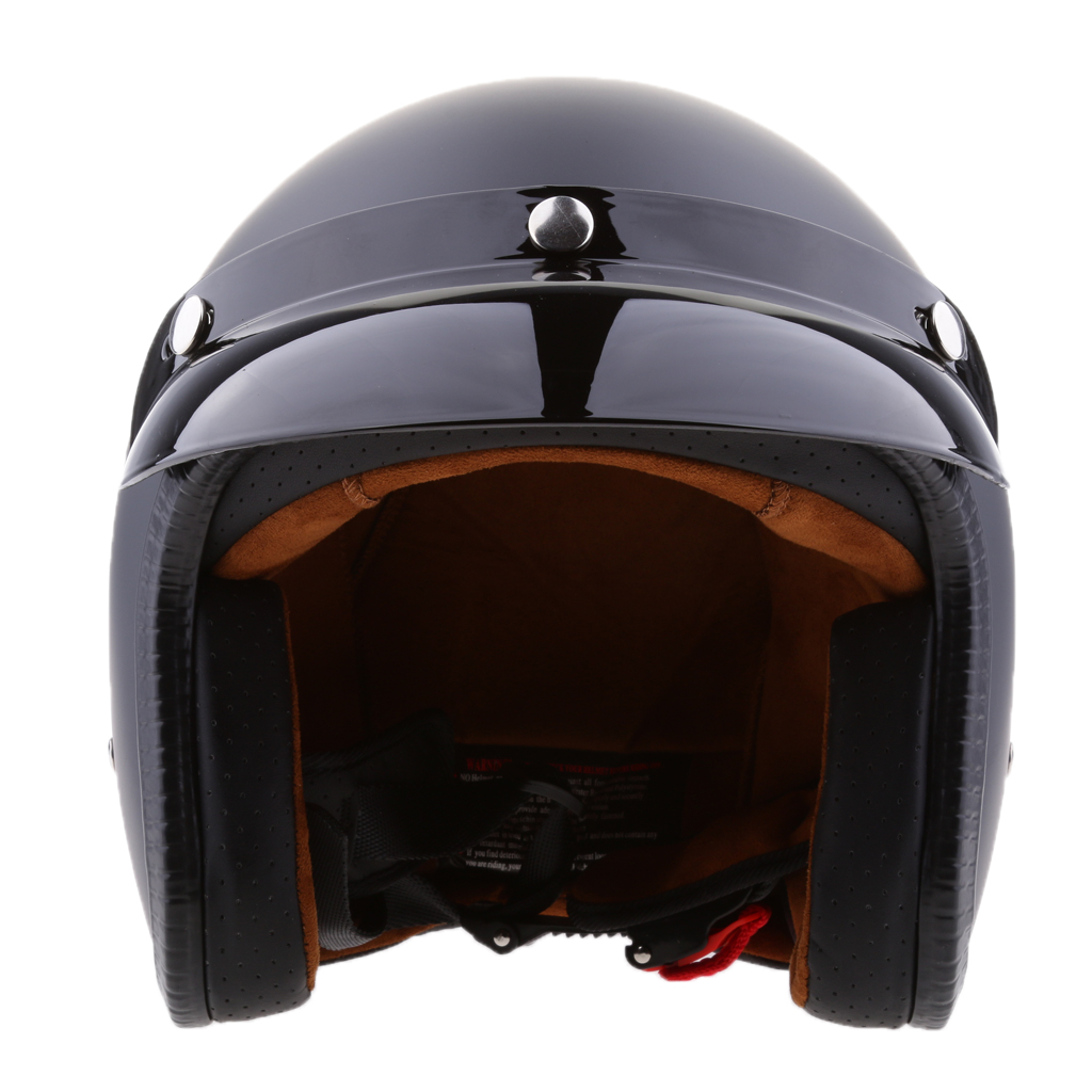 Flache Schwarz Retro Universal Motorrad 3/4 Open Face Helm w/Sonnenblende Biker Helm Mit Abnehmbaren Visier Sonne Schild abdeckung Schwarz