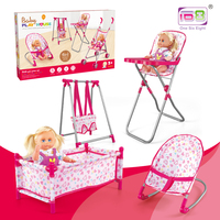 4 In1 Pretend Play Toys Furniture Stroller Baby Doll Stroller Children Toy Doll Girl Play House Toy Stroller