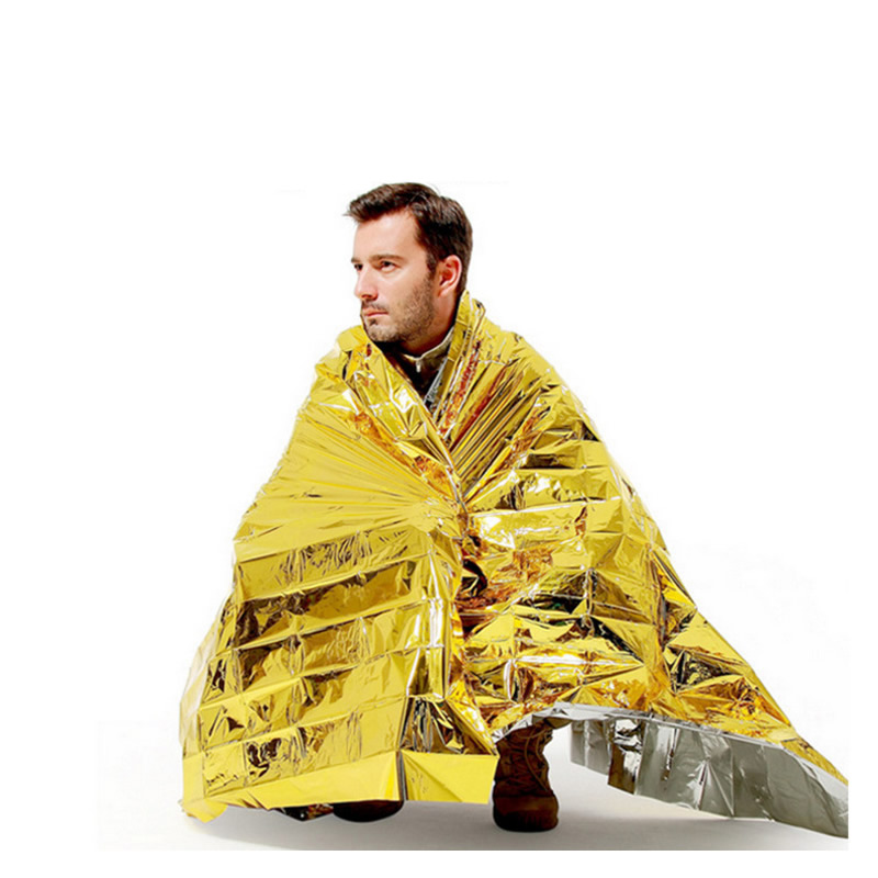 160x210cm Emergency Blanket Double Side Heat Preserve First Aid Kit Accessories Sports Outdoor Camp Hiking Self Rescue