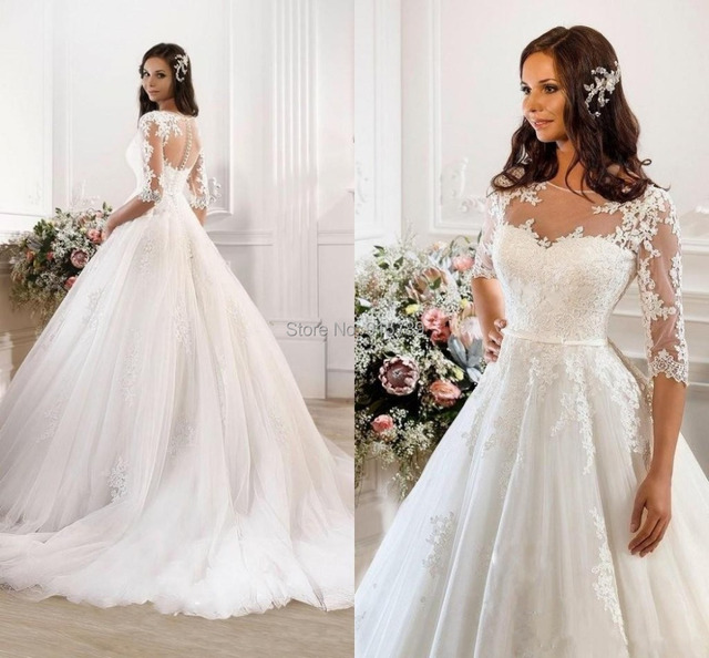 2017 Glamour Bridal Wedding Dress White Ivory Ball Gown Scalloped Neck Satin Lace Half Sleeves Sweep