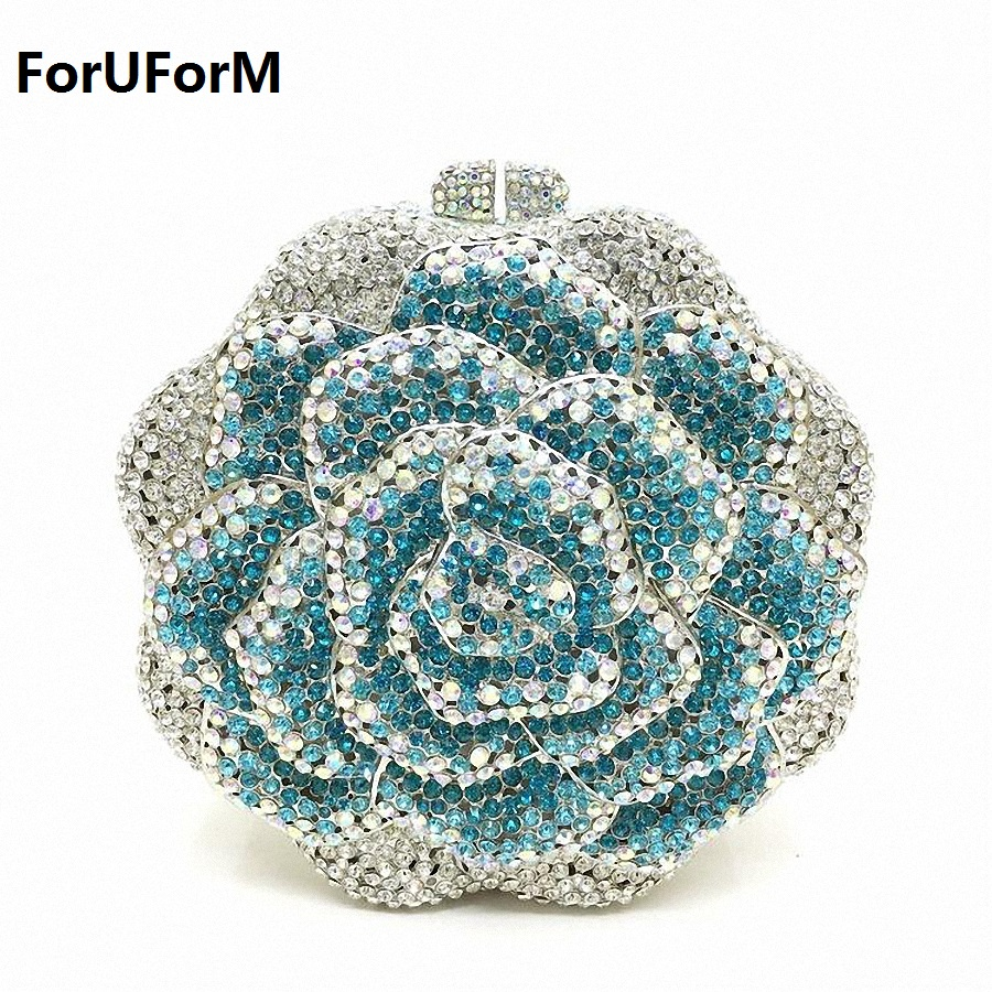 Fashion Women Luxury Crystal Clutches Evening Bag Colourful Flower Shape Wedding Clutch Purse Diamonds Party Handbags LI-1558 gold plating floral flower hollow out dazzling crystal women bag luxury brand clutches diamonds wedding evening clutch purse