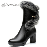 Women Water Proof High Heel Mid Calf Boots Woman Round Toe Heels Shoes Good Quality Half