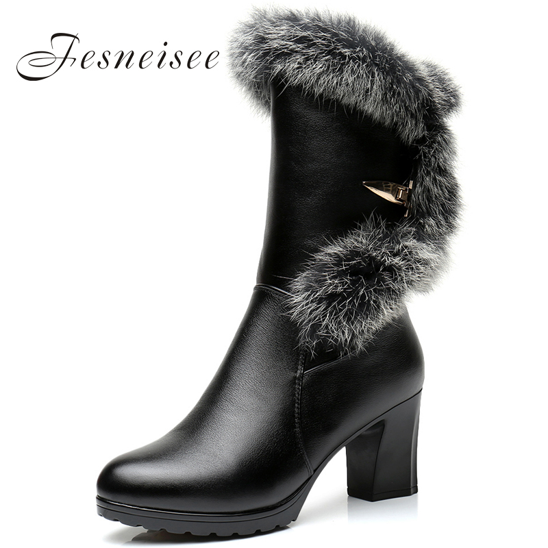 Women Water Proof High Heel Mid Calf Boots Woman Round Toe Heels Shoes Good Quality Half Short Botas Feminina Size35-41 Q4 spring autumn women thick high heel mid calf boots platform woman short boots high heels shoes botas plus size 34 40 41 42 43