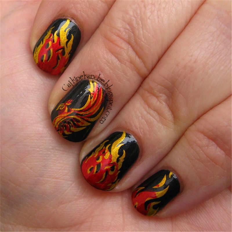 Lahir Cantik Api Persegi Panjang Stamping Template Manicuring Paku Seni Gambar Cap Piring Exotic BPX-L012