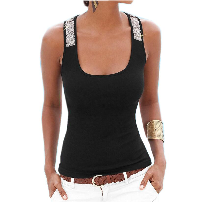 2017 Euro Style Summer New Fashion Women Tank Sexy Pullover Sequins Render Vest Pure color Slim Big yards Sleeveless Tops SJ1094 ...