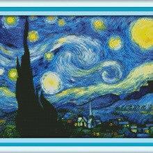 Звездная ночь Ван Гога Печатный холст DMC Счетный Китайский Набор для вышивки крестом вышивка рукоделие