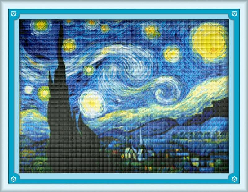Die Sternenklare Nacht von Van Gogh Gedruckt Leinwand Dmc Chinesischen Stickpackungen gedruckt kreuzstich set Stickerei hand