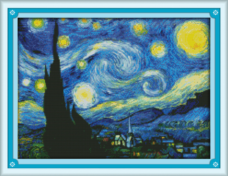 The Starry Night of Van Gogh Printed Canvas DMC Counted Cross Stitch Kit dicetak Cross-stitch set Embroidery Needlework