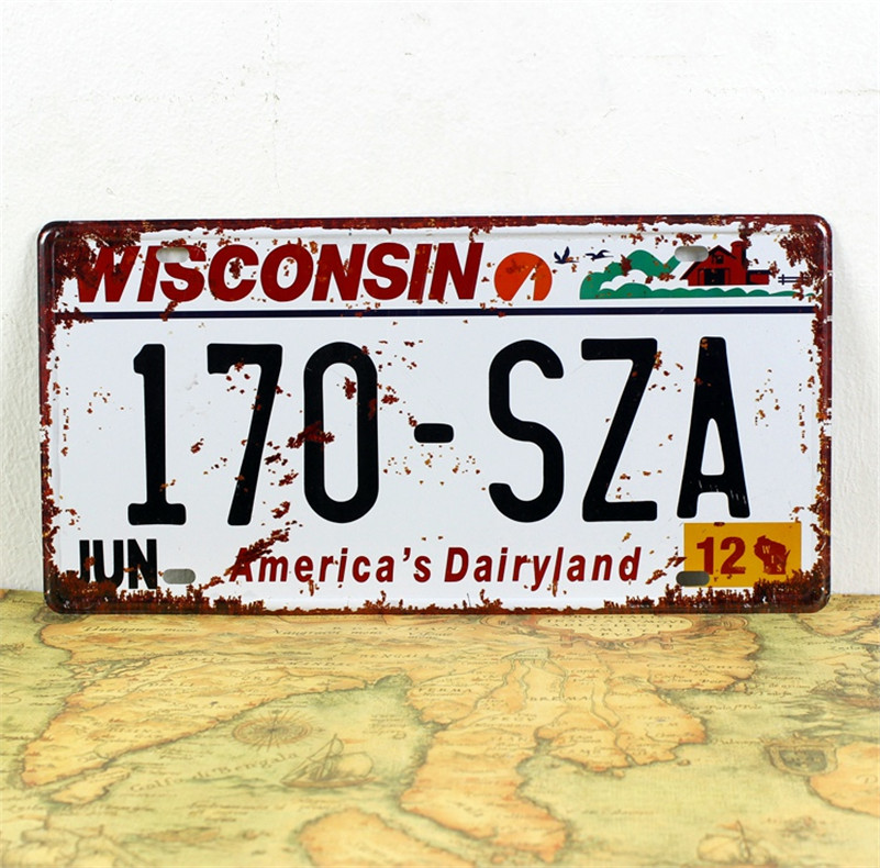 "Retro license plate""170-SZA""iron Plaque Bar/Cafe/Club/Gallery Wall sticker Decorative painting decorations 15x30cm"