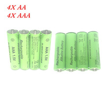 Cncool 4 шт. 1.5 В AA 3000 мАч Щелочная Аккумуляторная батарея + 4 шт. 1.5 В AAA 2100 мАч Щелочной батарея для светодиодный свет игрушка mp3