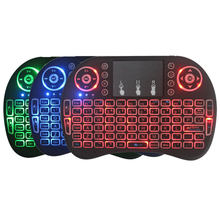 Mini Keyboard Nirkabel 3 Warna Backlit 2.4 GHz Bahasa Rusia Warna Backlight Remote Kontrol Touchpad Android TV Box Tablet(China)
