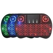 Mini Drahtlose Tastatur 3 farbe hintergrundbeleuchtung 2,4 ghz Englisch Russische farbe hintergrundbeleuchtung Fernbedienung Touchpad Android TV Box Tablet