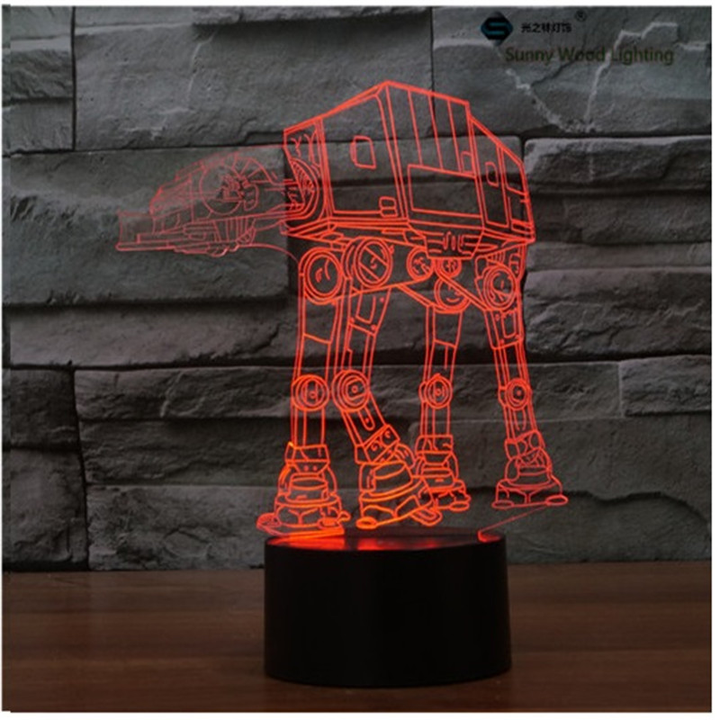 ATAT star wars touch LED 3D lamp,Visual Illusion 7color changing 5V USB for laptop,Christmas cartoon toy lamp star wars bb8 droid 3d bulbing light toys new 7 color changing visual illusion led decor lamp darth vader millennium falcon toy