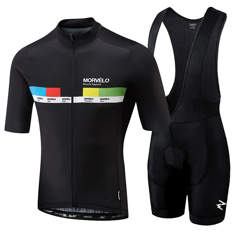 Morvelo 2019 Homens Roupas de Verão ciclismo Roupas kits de manga curta Bib Shorts maillot ciclismo bib shorts Respirável dos homens set