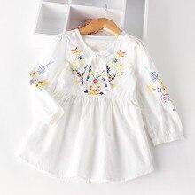 Autumn Cotton Denim font b dress b font Little Girls floral font b dress b font