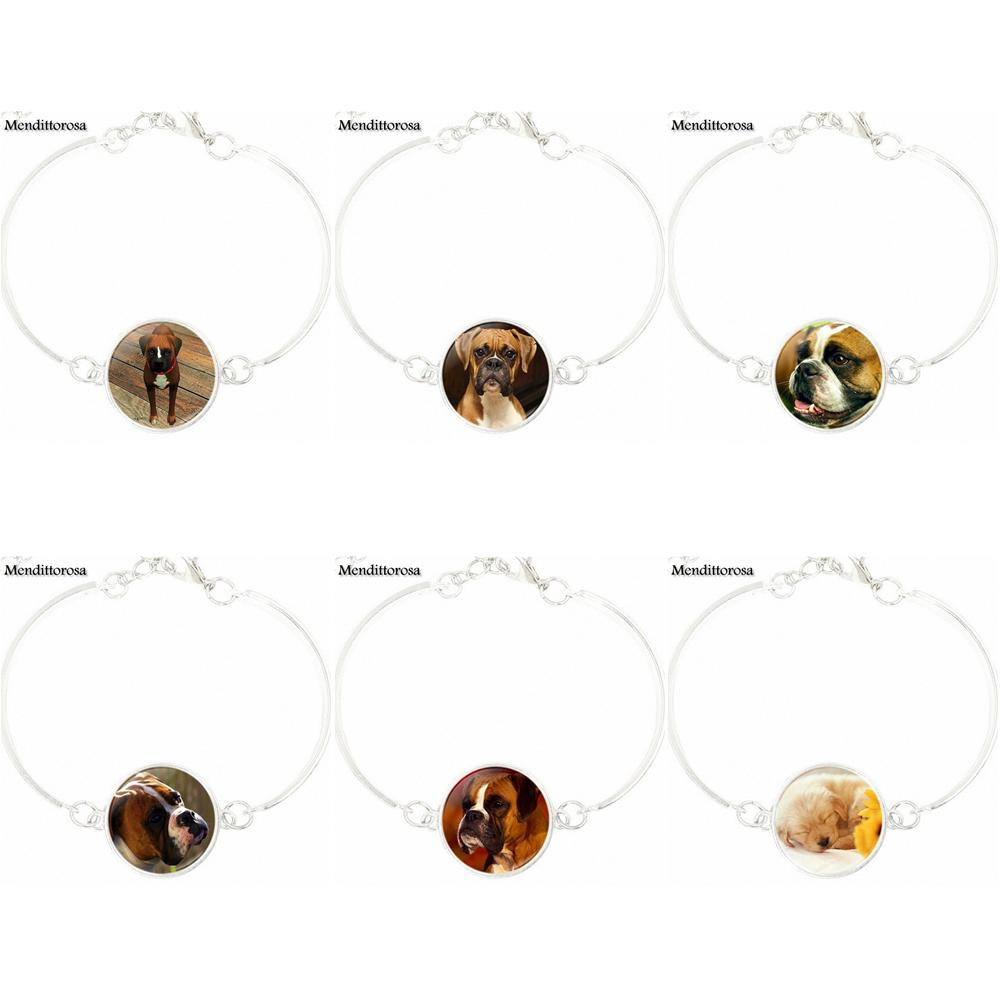 For Girls Gifts Fashion Silver Plated Glass High Quality Girls Bracelet Bangles Jewelry Boxer Dog Cutie Canine Boxer Dog