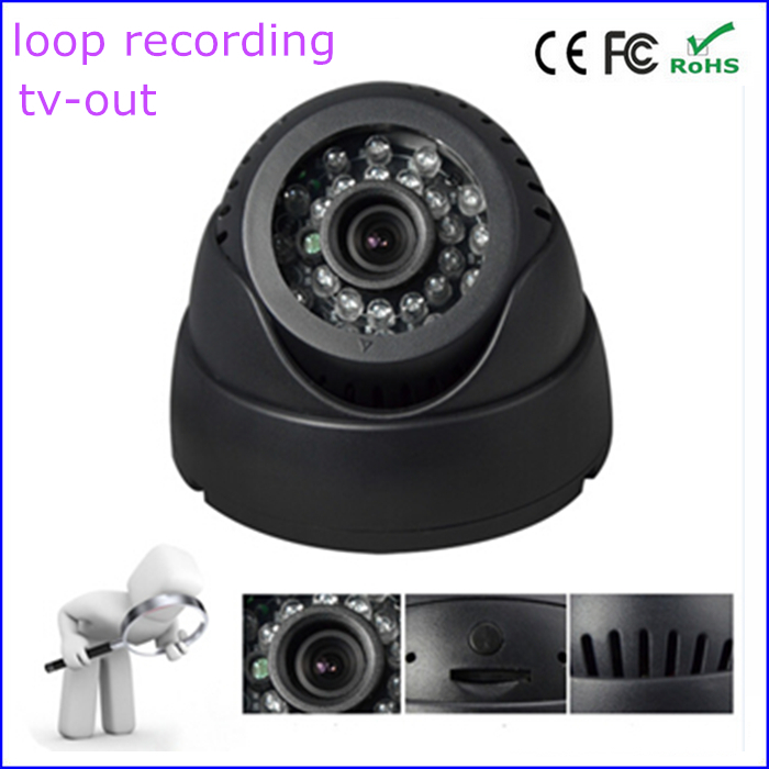 TV-Out 15M 24-LEDs IR Night Vision TF Card DVR Indoor Dome Camera loop recording remote control dvr dome camera led array sd card tv output up to 20m night vision dome camera recorder free shipping