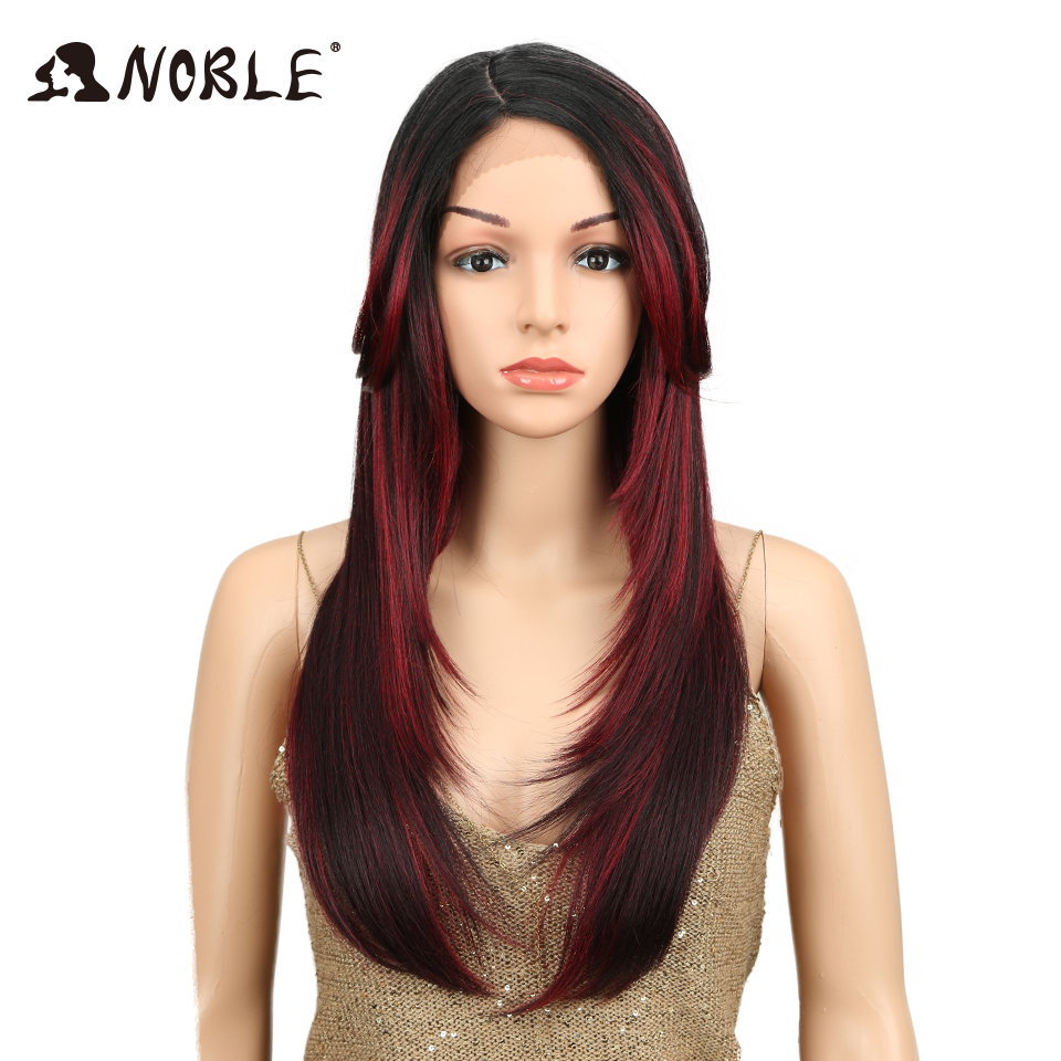 Noble 24 Inch Synthetic Lace Front Wig High Temperature Side Part Long Straight With Bangs Ombre Burgundy African American Wigs