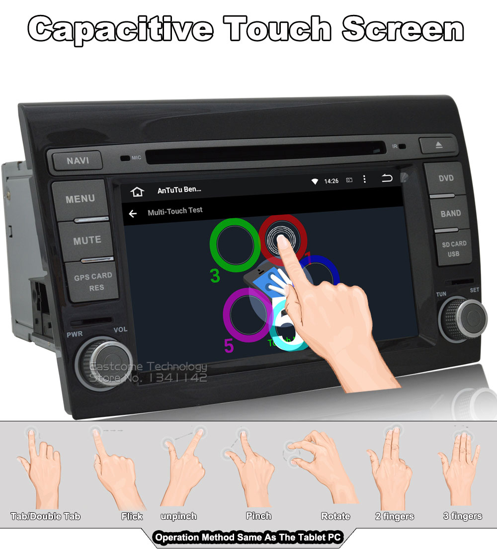 Top 1024*600 8 Cores Octa Core Pure Android 6.01 Car DVD Player For Fiat Bravo 2007 2008 2009 2010 2011 2012 With Rear View Camera 4