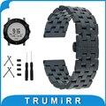 24mm Faixa de Relógio de Aço Inoxidável Da Borboleta Fivela de Cinta + Lug adaptador + Ferramenta para Suunto Core Correia de Pulso Pulseira Preta prata