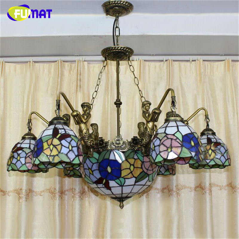 FUMAT Stained Glass Pendant Lamps American Art Glass Pendant Light Living Room Indoor Flowers Shape Lights LED Pendant Lights купить
