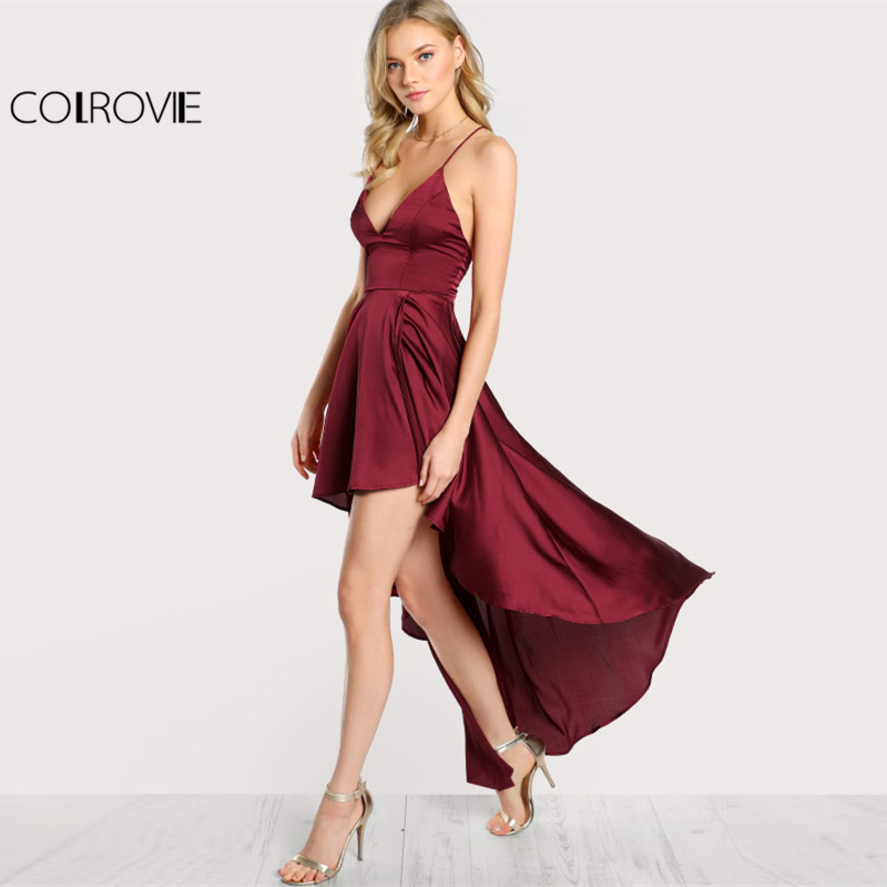 Image 3 - COLROVIE Party Dress Deep V Neck Spaghetti Strap Sleeveless Maxi Dress Asymmetrical Crisscross Backless High Low Cami Dress-in Dresses from Women's Clothing