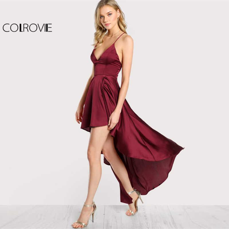 Colrovie vestido de festa profundo decote em v cinta de espaguete sem mangas maxi vestido assimétrico crisscross sem costas alta baixa cami vestido